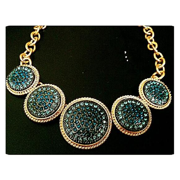 Fashion Beyond Jewelry - 3/$30 Goldtone Statement Necklace Aqua Blue